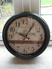 French, Chic,Rustic, Vintage 39cm 'Chateau Noir' Champagne Round Iron Wall Clock