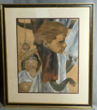 Vintage Modern Painting Joseph Holiday African American Artist Indiana Mans Fall