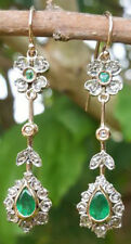 1.25ct ROSE CUT DIAMOND EMERALD ANTIQUE VICTORIAN LOOK SILVER DANGLER EARRING