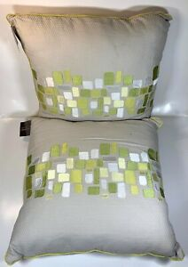 Modern Square Pillows 2 Pcs Set - Green and Gray Minimalist Design