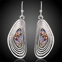 Antique Silver Plated Hook Drop Dangle Earrings Ethnic Eardrop Earrings spJMDE