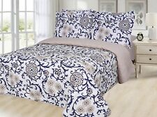 Printed Reversible 6 PC Quilt & Sheet Set, Taupe Flower & Navy Leave, Queen Size