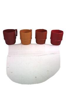 Set of 4 Tupperware Stackable Mugs Coffee Cups #1312Harvest Colors Vintage Nice