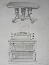 Table étagére service style HENRI II GRAVURE le GARDE-MEUBLE MIDART XIXéme