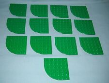 13 NEW LEGO GREEN 6X6 ROUND CORNER PLATES,6 BUMPS X 6 BUMPS ON THE SQUARE SIDES