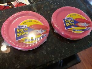 "Hefty Serve 'n Store Interlocking Plates 15 Large Plates 10.8"" X 10"" RED  X2"
