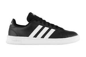 adidas Mens Grand Court Base Trainers Black White Sports Shoes