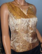 VINTAGE 90S~Party~Dressy~EMBROIDERED NUDE PAISLEY TOP ~blouse~SZ L