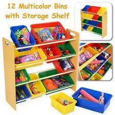 Toy Storage Organizer for Kids with 12 Colorful Plastic Bins Playroom Bin Shelf