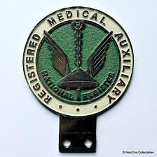 Vintage 1950s Car Badge - Registered Medical Auxiliary - Doctor Nursing Mascot