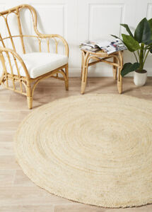 ALISON JUTE RUG ROUND BLEACH White Circle Natural mat Large Carpet FREE POST*
