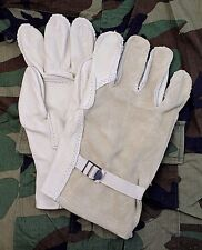NEW US ARMY ISSUE RAPPELLING HEAVY DUTY CATTLE HIDE LEATHER GLOVES SZ 4 LARGE
