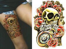 Temporary Tattoo Large Skull Red Roses Clock Biker Body Art Fake Waterproof