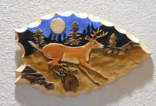 Wood Arrowhead Shaped Wall Hanging with Deer and Pine Trees 3D by Jud