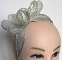New Sage green looped bow sinamay aliceband fascinator wedding races ascot prom