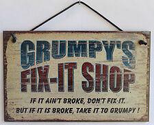 Grumpy's Fix-It Shop Sign Wood Worker Mechanic Tool Fix Take to Garage Workshop