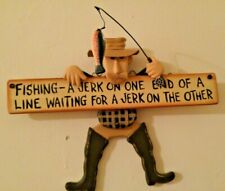 Fishing Decor Wood Jerk On A Line Wall Hanging - Great for Man Cave, Cabin, Boat