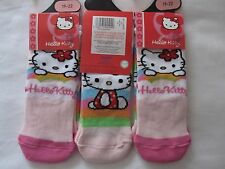 """BNWT - 6 PAIRS """"HELLO KITTY"""" PINK AND MULTI TRAINER CHARACTER SOCKS - SIZE 19-22"""