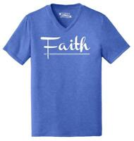 Mens Faith Triblend V-Neck Religious Christian God Shirt