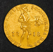 1818, Netherlands (Kingdom), William I. Gold Knight Ducat Coin. (Utrecht) 3.5gm!