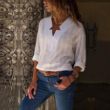 Women Plaid Autumn Long Sleeve Lattice Tops V Neck Casual OL T-Shirt Blouse