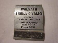 Vintage Walrath Trailer Sales Chittenango, NY Travelo Kozy Coach Matchbook