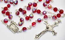 Red Crystal Apparition Rosary Beads boxed - FROM LOURDES