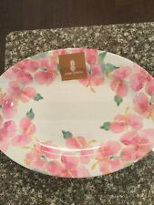 New listing Indoor Outdoor Collection Pink Hibiscus Floral Melamine Serving Tray Platter