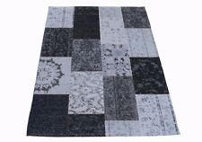 Vintage Patchwork 170 x 120 cm, grau gewebt, Brücke, Fußbodenheizung geeignet