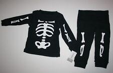 Carter's 2 Piece Black Skelton Bones Pajamas Boys Size 12m Halloween PJs