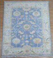 Hand knotted Tribal Oushak Fine Wool Oriental Area Rug In Blue