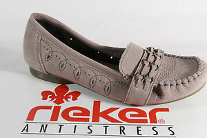 Rieker Slippers Ballerina Low Shoes Court Shoes Soft Leather Insole, Grey New