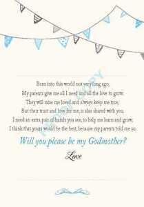 WILL YOU BE MY GODPARENT GODMOTHER GODFATHER CARD Bunting Cream background