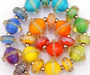 FRISKEY handmade Lampwork Glass Beads, SUGAR RAINBOW !!!