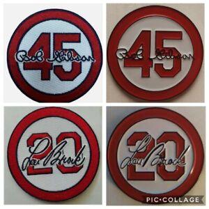 (4) Bob Gibson / Lou Brock Memorial Jersey Patch & Pin Set - St Louis Cardinals