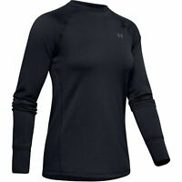 Under Armour 1343320 Womens UA ColdGear Base 3.0 Top Baselayer Crew Shirt, Black
