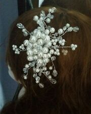 Handmade bridal pearl and glass bridal headpiece fascinator