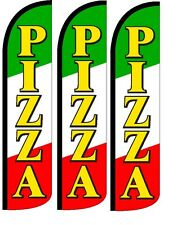 Pizza Windless Standard Size  Swooper Flag Sign Banner Pk of 3