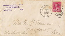 ENGLEWOOD,ILLINOIS ~ STAMPED ENVELOPE ~ SCOTT # (219) ~ c. - 1890