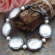 "GE022611 8"" White Coin Pearl Bracelet"