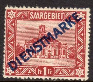 Saar Scott #O15 F/VF Used 1922 1 F St. Ludwig's Cathedral Overprint Type I