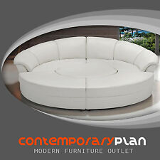 Round 5 Piece Living Room Sectional Couch Set with round table - White Color NEW