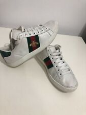 Gucci Bee Ace red web White Leather Authentic Women's Trainers Sneaker UK size 4