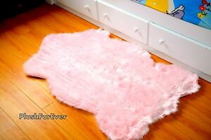 Shag Rug 3' x 5' Baby Pink Faux Fur Area Rug Acrylic Nursery Rug Home Accents