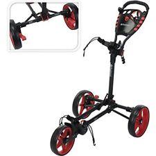 Fast Fold Flat Golf Trolley, Charcoal/red, One Size - Fast Flat 3 Wheel Push