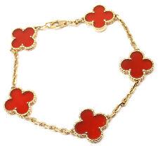 Authentic! Van Cleef &Arpels 18k Yellow Gold Carnelian Vintage Alhambra Bracelet