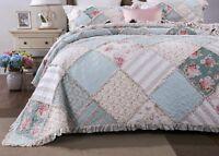 DaDa Bedding Mint Floral Pastel Pink Cotton Patchwork Ruffle Bedspread Quilt Set