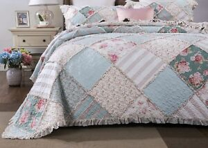DaDa Bedding Mint Floral Pastel Pink Cotton Patchwork Ruffle Bedspread Quilt Set