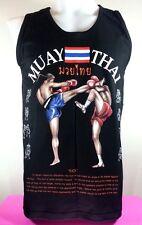 Muay Thai Boxing Men Vest Black Color T Shirt Sleeveless Size L Art Cotton 100%