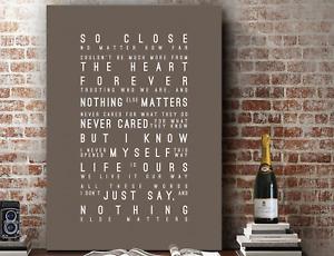 METALLICA Nothing Else Matter | Wall Art Song Lyrics GIFT | Print or Canvas
